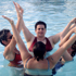 Video still of synchronized swimming improv animation